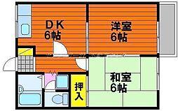 岡山県岡山市中区中井3丁目の賃貸アパートの間取り