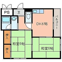 森田ツインコーポ[A201号室]の間取り