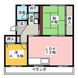 高木グリーンハイツ[3階]の間取り