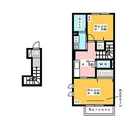[新築] サニーコート スリーリバー 2階2Kの間取り