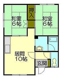 若竹アパート 2階[2階号室]の間取り