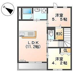 JR横浜線 橋本駅 バス19分 向原南停下車 徒歩7分の賃貸マンション 2階2LDKの間取り