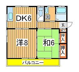 キャッスル松ヶ丘[201号室]の間取り
