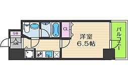 リンクハウス靱本町 11階1Kの間取り
