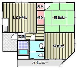 淡路マンション[2階]の間取り