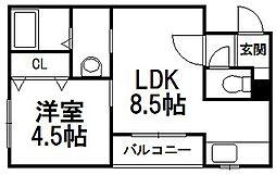 北海道札幌市手稲区手稲本町二条1丁目の賃貸マンションの間取り
