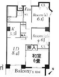 埼玉県鶴ヶ島市富士見1丁目の賃貸マンションの間取り