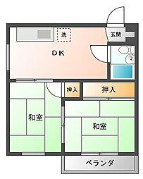 福岡県福岡市博多区寿町2丁目の賃貸マンションの間取り