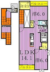 リアンコート 3階2LDKの間取り