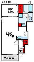 レゾネイト原 1階1LDKの間取り