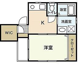 広島電鉄1系統 皆実町六丁目駅 徒歩4分の賃貸マンション 1階1Kの間取り