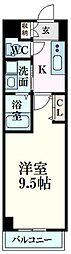 広島電鉄5系統 比治山橋駅 徒歩6分の賃貸マンション 2階1Kの間取り