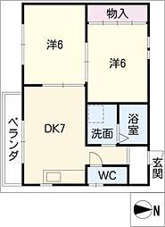 ハウス北屋敷[2階]の間取り