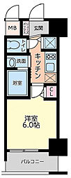 Live Casa本町 6階1Kの間取り