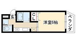 愛知県名古屋市天白区井の森町の賃貸マンションの間取り
