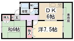 兵庫県伊丹市東有岡1丁目の賃貸アパートの間取り