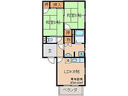 京都府京都市伏見区深草兜山町の賃貸アパートの間取り