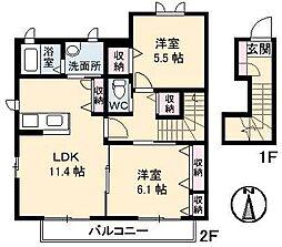 愛媛県新居浜市西の土居町2丁目の賃貸アパートの間取り