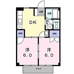 下戸田ハイツ[105号室]の間取り