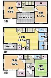 [一戸建] 大阪府門真市北岸和田3丁目 の賃貸【/】の間取り