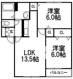 来夢 壱番館・弐番館[2階]の間取り