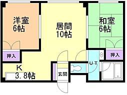 橋本マンション 3階2LDKの間取り