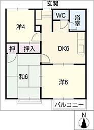 ワキタハイツA棟[1階]の間取り