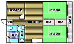 ガーデンハイツ置田[1階]の間取り
