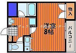JR山陽本線 西川原駅 徒歩8分の賃貸マンション 4階1Kの間取り