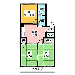 マンションサン[1階]の間取り