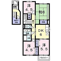 大阪府八尾市萱振町3丁目の賃貸アパートの間取り