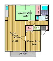 大阪府富田林市加太2丁目の賃貸アパートの間取り