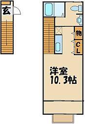 京王線 武蔵野台駅 徒歩7分の賃貸アパート 2階1Kの間取り