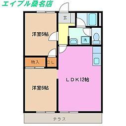 三重県桑名市大字東野の賃貸アパートの間取り