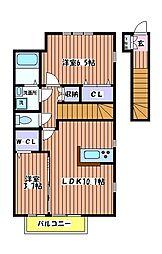 東京都東大和市向原2丁目の賃貸アパートの間取り