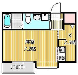 市川市福栄新築AP 2階1Kの間取り