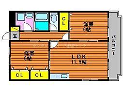 岡山県岡山市東区西大寺中野の賃貸マンションの間取り