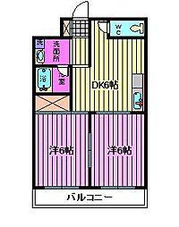 埼玉県川口市鳩ヶ谷本町4丁目の賃貸マンションの間取り