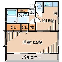 ハイツ松風[1階]の間取り