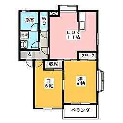 ニューパレス横山II[1階]の間取り