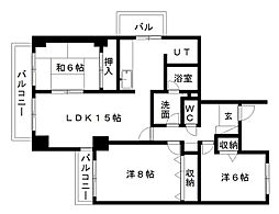 静岡県浜松市中区広沢3丁目の賃貸マンションの間取り