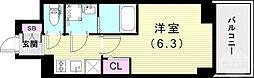 エスリード ザ ランドマーク神戸 5階1Kの間取り