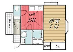 千葉県佐倉市表町3の賃貸アパートの間取り