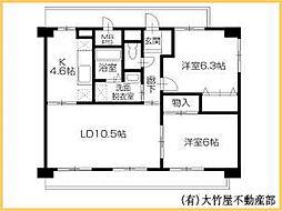 井原鉄道 井原駅 徒歩10分の賃貸マンション 2階2LDKの間取り