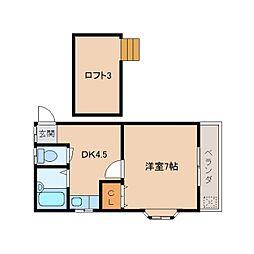 奈良県生駒市門前町の賃貸アパートの間取り