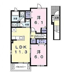 カルムメゾンII[2階]の間取り