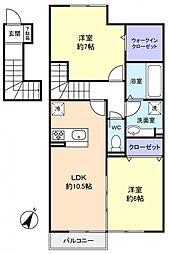 キャトルセゾン伊藤I[2階]の間取り