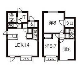 [テラスハウス] 北海道札幌市東区北二十六条東19丁目 の賃貸【/】の間取り
