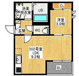 広島電鉄宮島線 古江駅 徒歩13分の賃貸アパート 3階1LDKの間取り