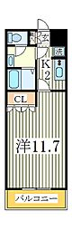 千葉県柏市高柳の賃貸アパートの間取り